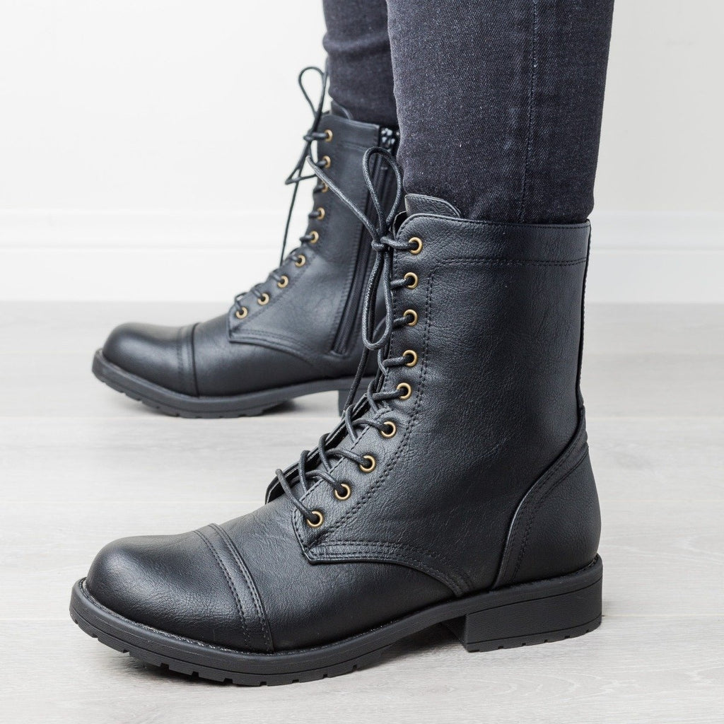 Womens Edgy Essential Combat Boots - Wild Diva Shoes - Black / 5