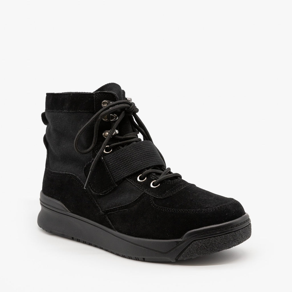 Womens Edgy Fashion Sneakers - Forever - Black / 5