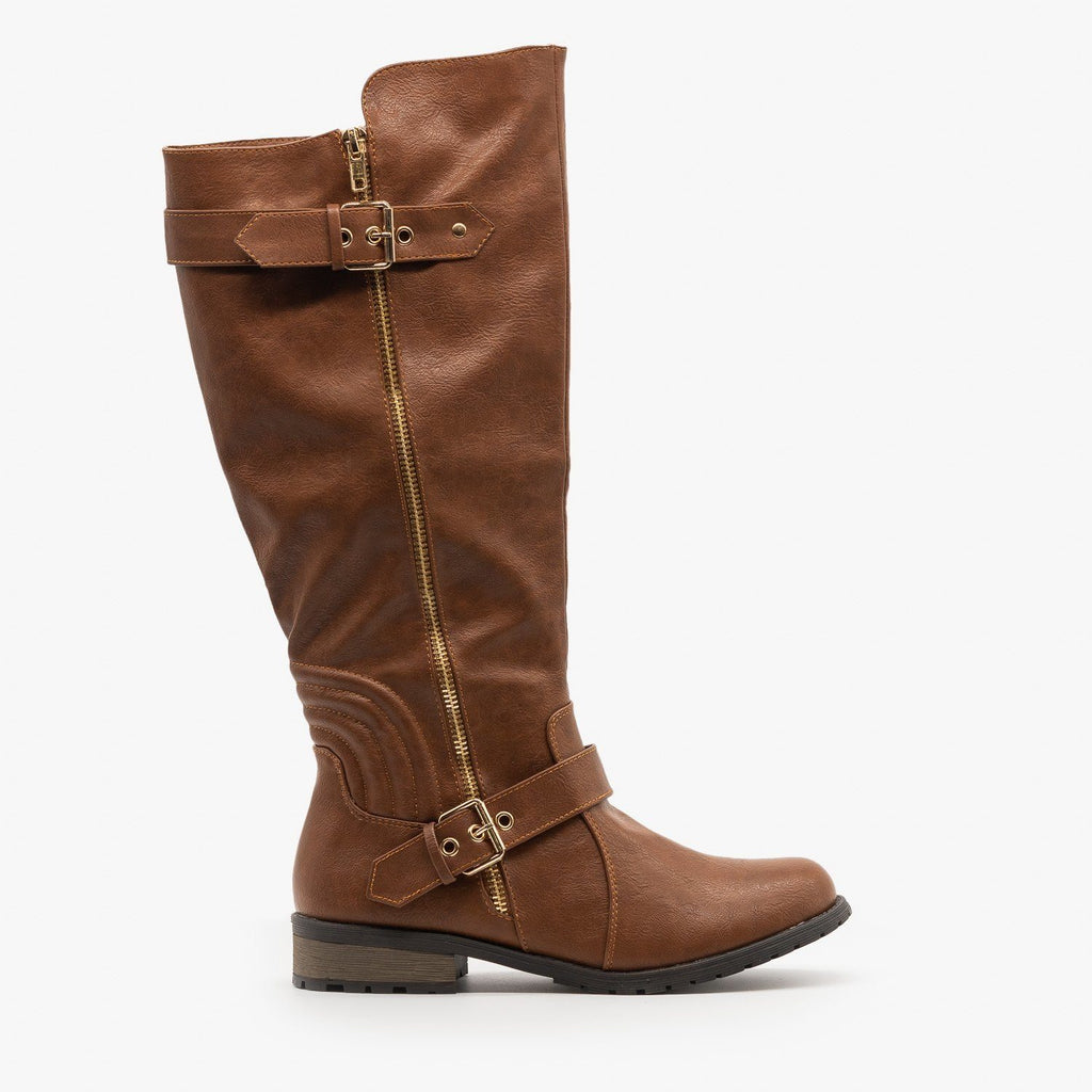 Womens Edgy Faux Leather Riding Boots - Forever - Tan / 5