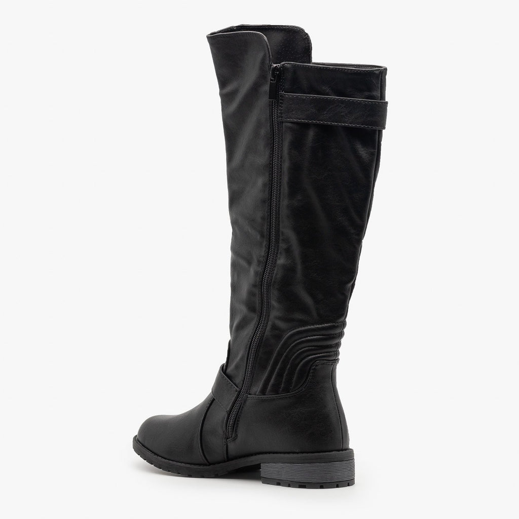 Womens Edgy Faux Leather Riding Boots - Forever