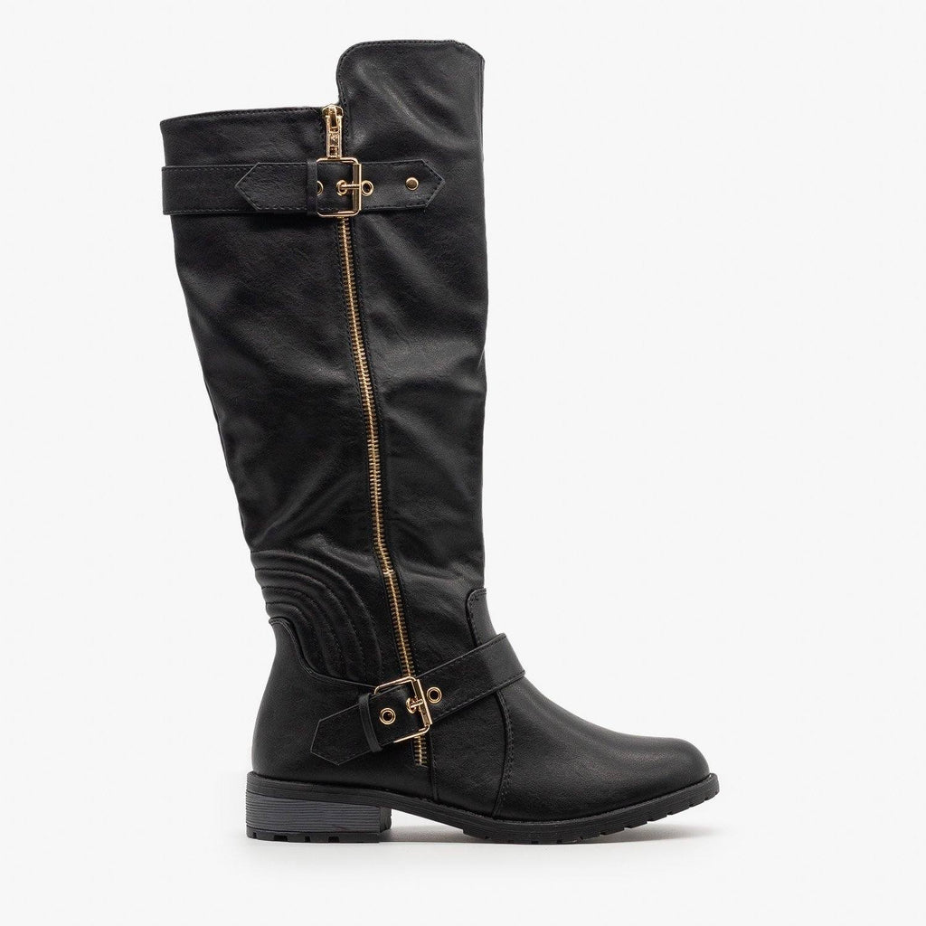 Womens Edgy Faux Leather Riding Boots - Forever - Black / 5