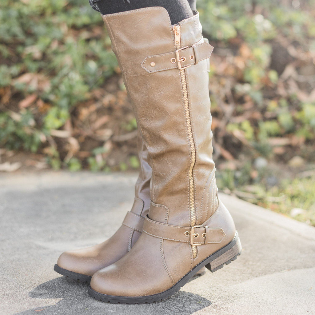 Womens Edgy Faux Leather Riding Boots - Forever - Taupe / 5