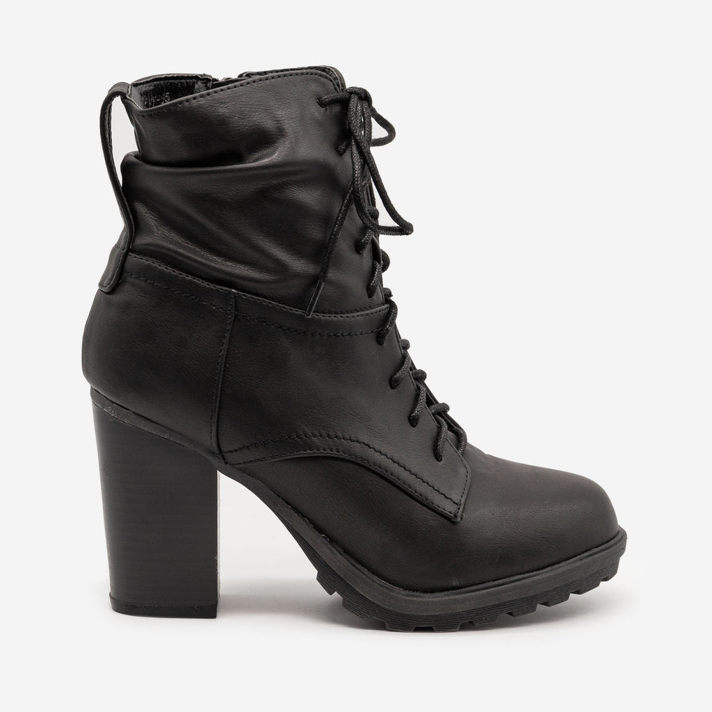 Women's Edgy High Heel Combat Booties - Bella Marie - Black / 5