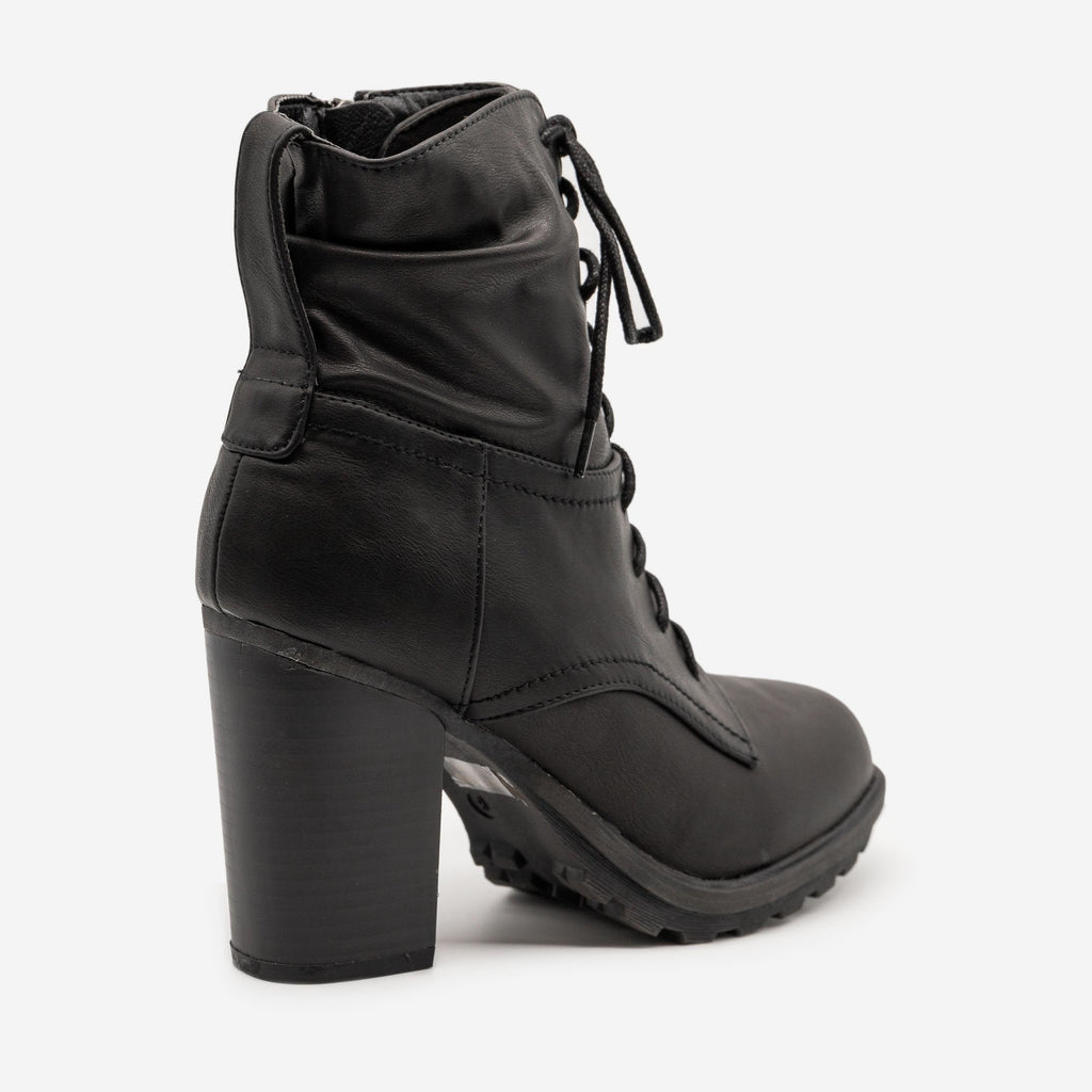 Women's Edgy High Heel Combat Booties - Bella Marie
