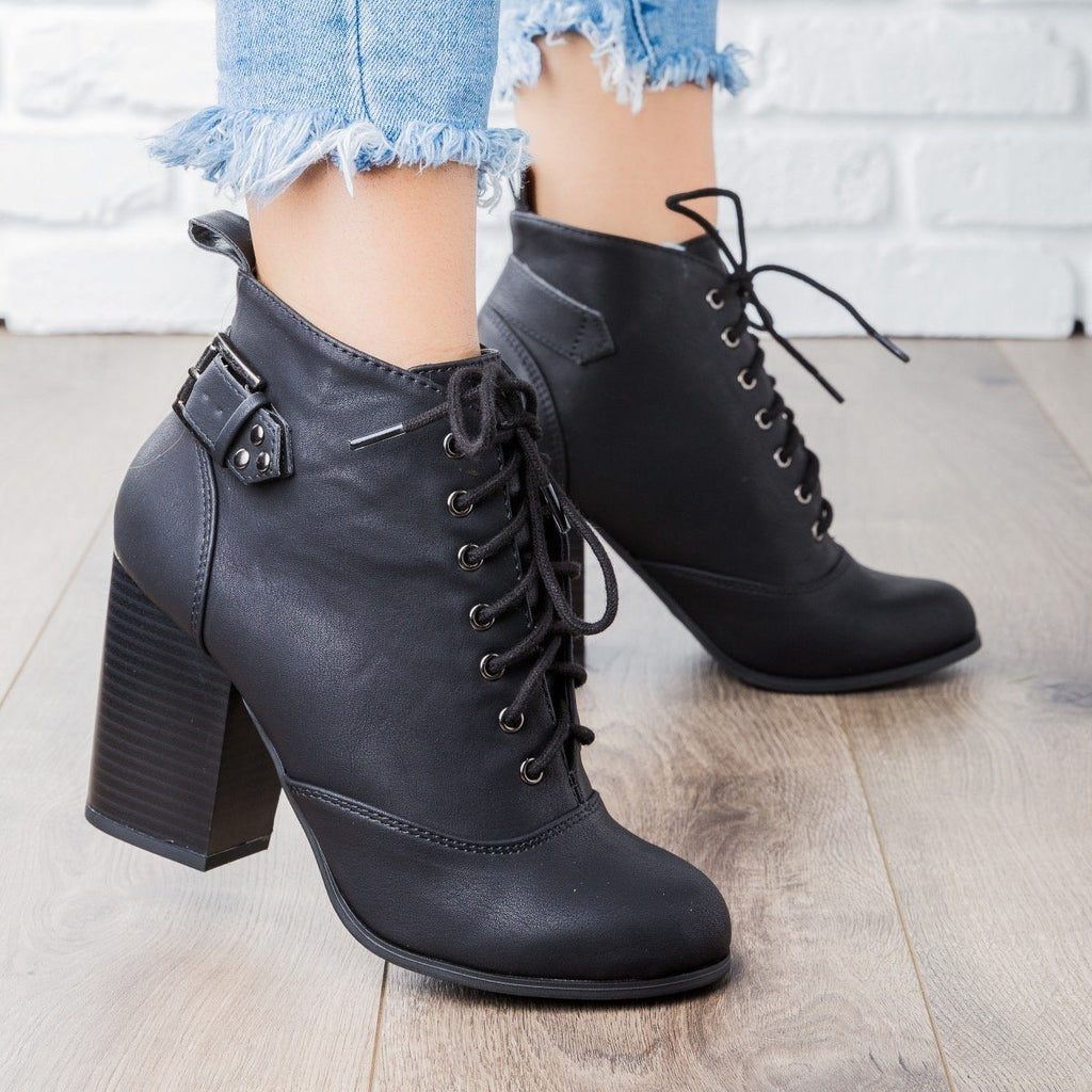 Womens Edgy Lace-Up Chunky Heel Bootie - Soda Shoes
