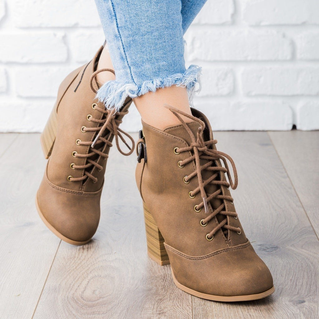 Edgy Lace-Up Chunky Heel Bootie - Soda