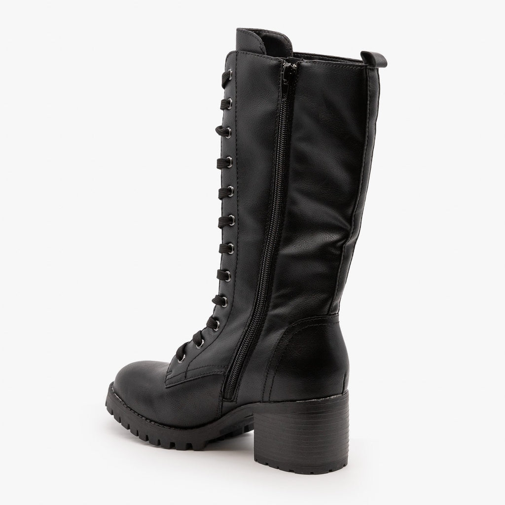 Womens Edgy Lace-Up Combat Boots - Bamboo Shoes