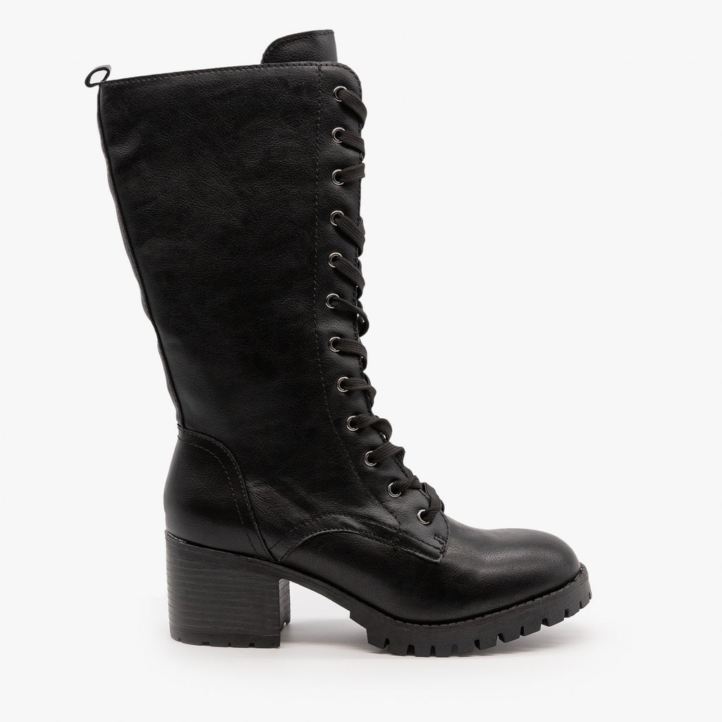Womens Edgy Lace-Up Combat Boots - Bamboo Shoes - Black Faux Leather / 5