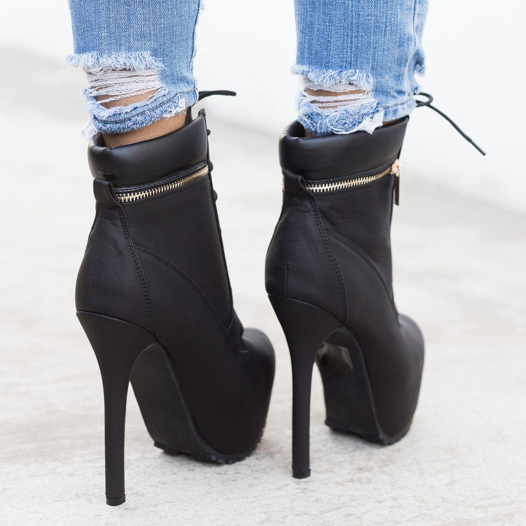 Womens Edgy Lace-Up Platform Ankle Boots - Bella Marie