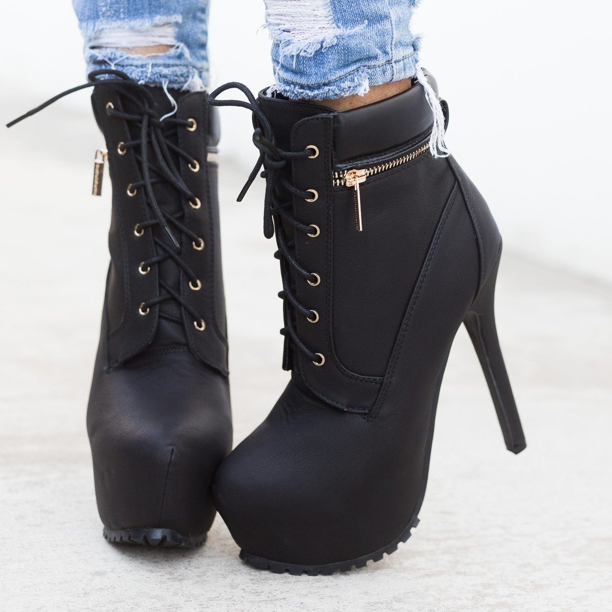 Edgy Lace-Up Platform Ankle Boots Bella