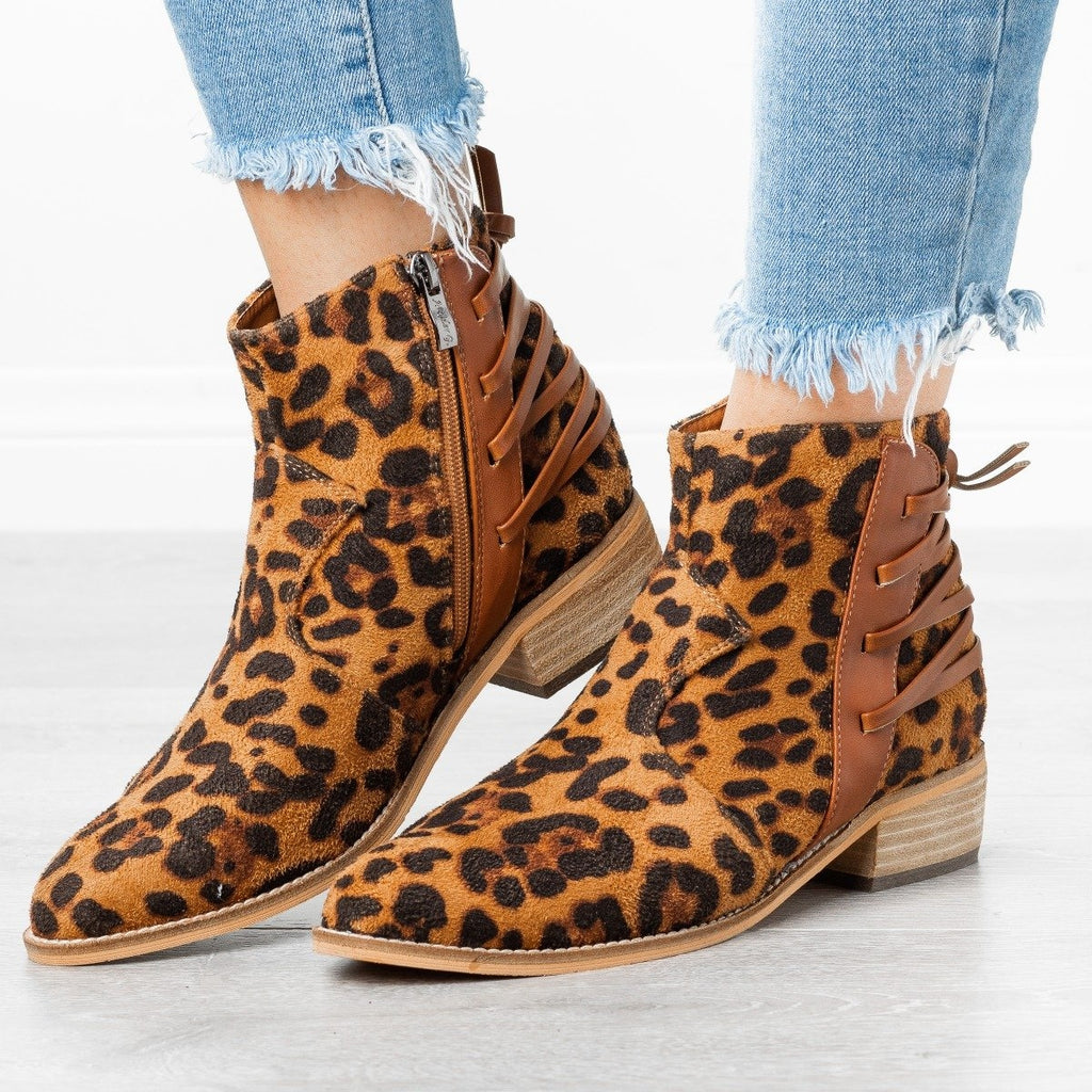 Womens Edgy Laced-Up Back Booties - ARider Girl - Leopard / 5