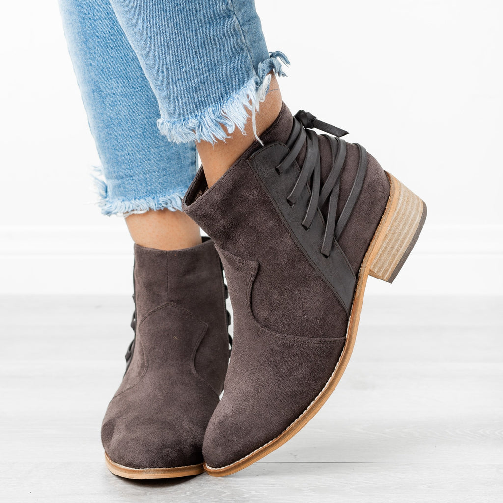 Womens Edgy Laced-Up Back Booties - ARider Girl - Whisky / 5