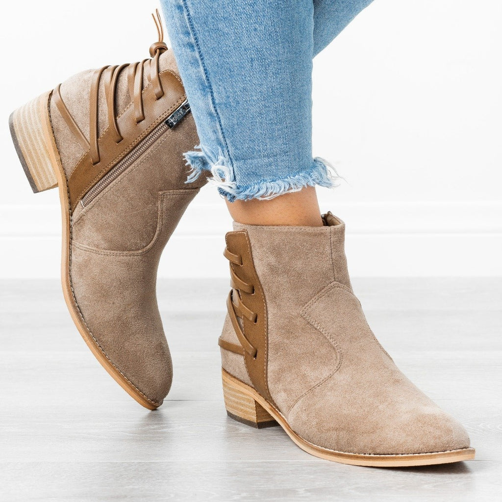Womens Edgy Laced-Up Back Booties - ARider Girl - Taupe / 5