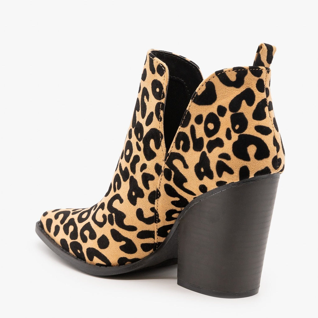 Edgy Leopard Print Booties - Qupid