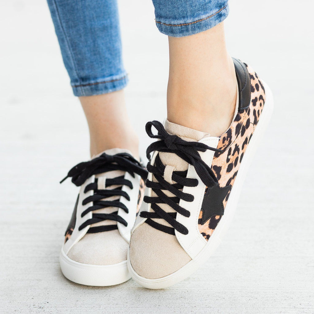 Womens Edgy Leopard Print Sneakers - Nature Breeze