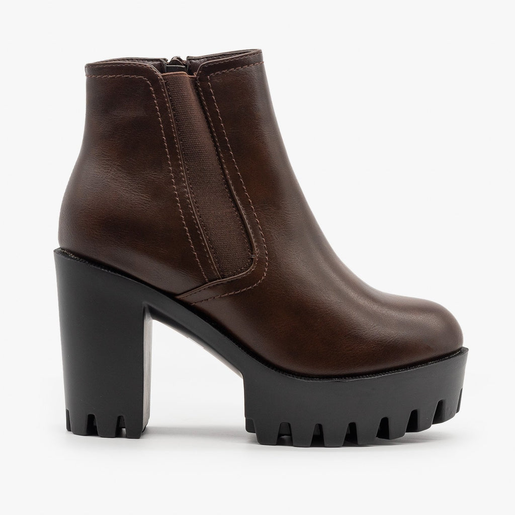 Womens Edgy Lug Sole Booties - Refresh - Brown / 5