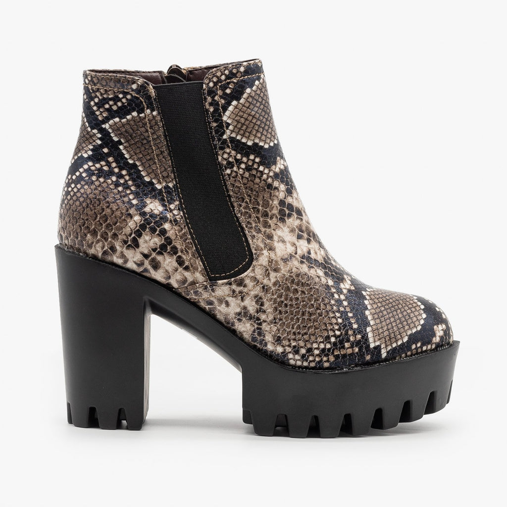 Womens Edgy Lug Sole Booties - Refresh - Snake / 5