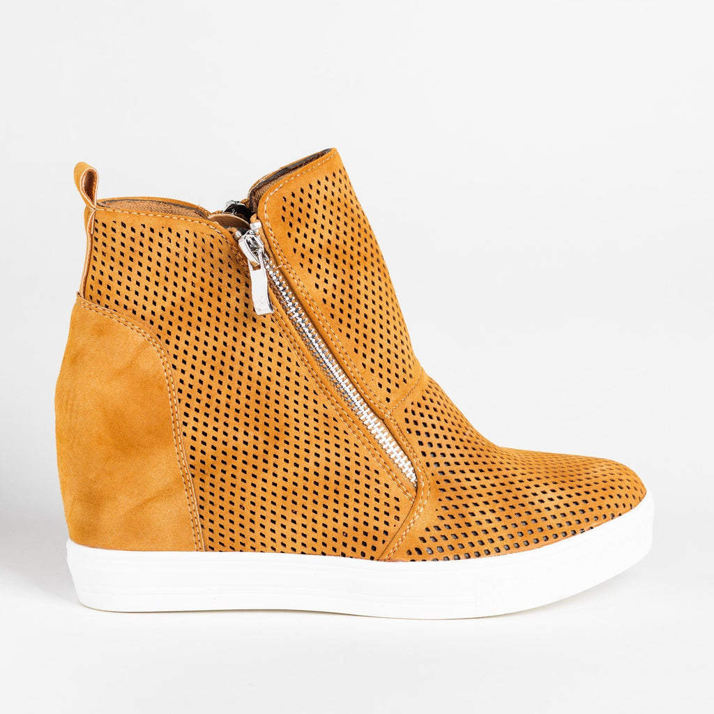 Womens Edgy Mesh Zip-Up Sneaker Wedges - CCOCCI - Tan / 5