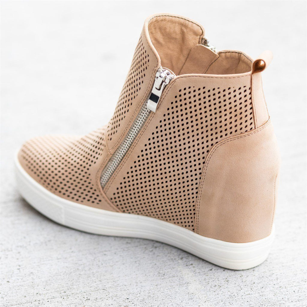 Womens Edgy Mesh Zip-Up Sneaker Wedges - CCOCCI