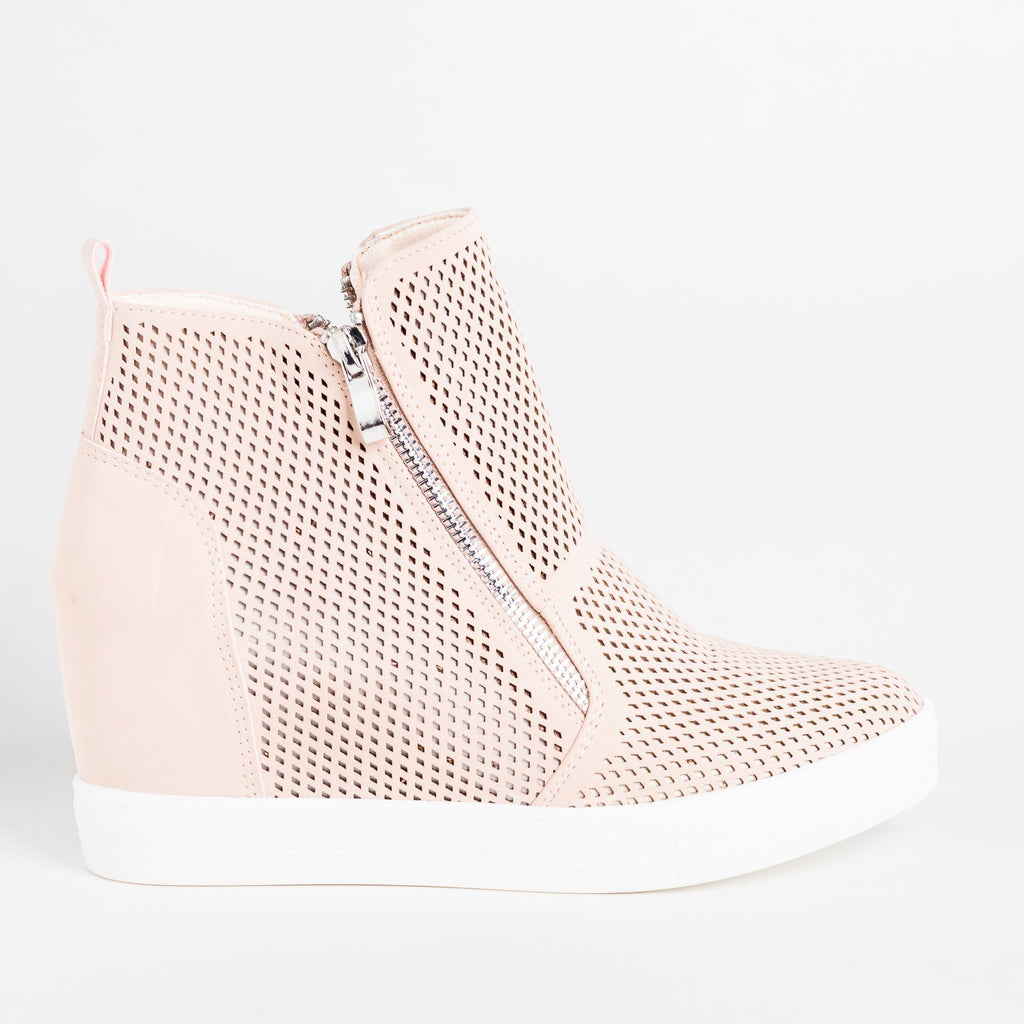 Womens Edgy Mesh Zip-Up Sneaker Wedges - CCOCCI - Blush / 5