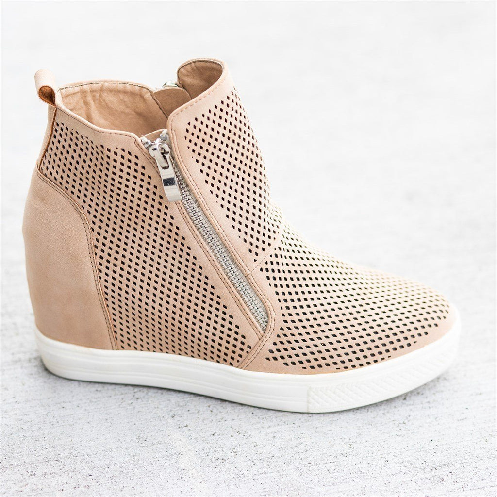 Womens Edgy Mesh Zip-Up Sneaker Wedges - CCOCCI - Beige / 5
