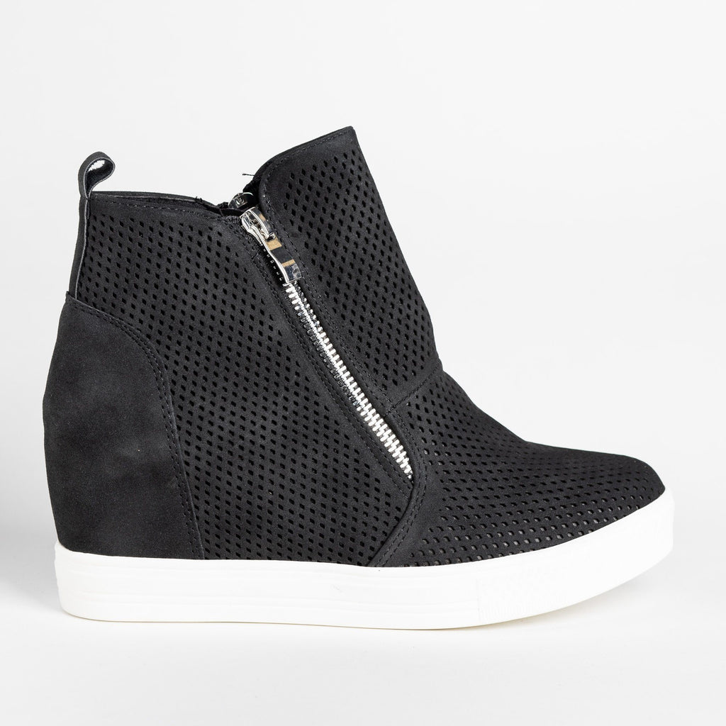 Womens Edgy Mesh Zip-Up Sneaker Wedges - CCOCCI - Black / 5