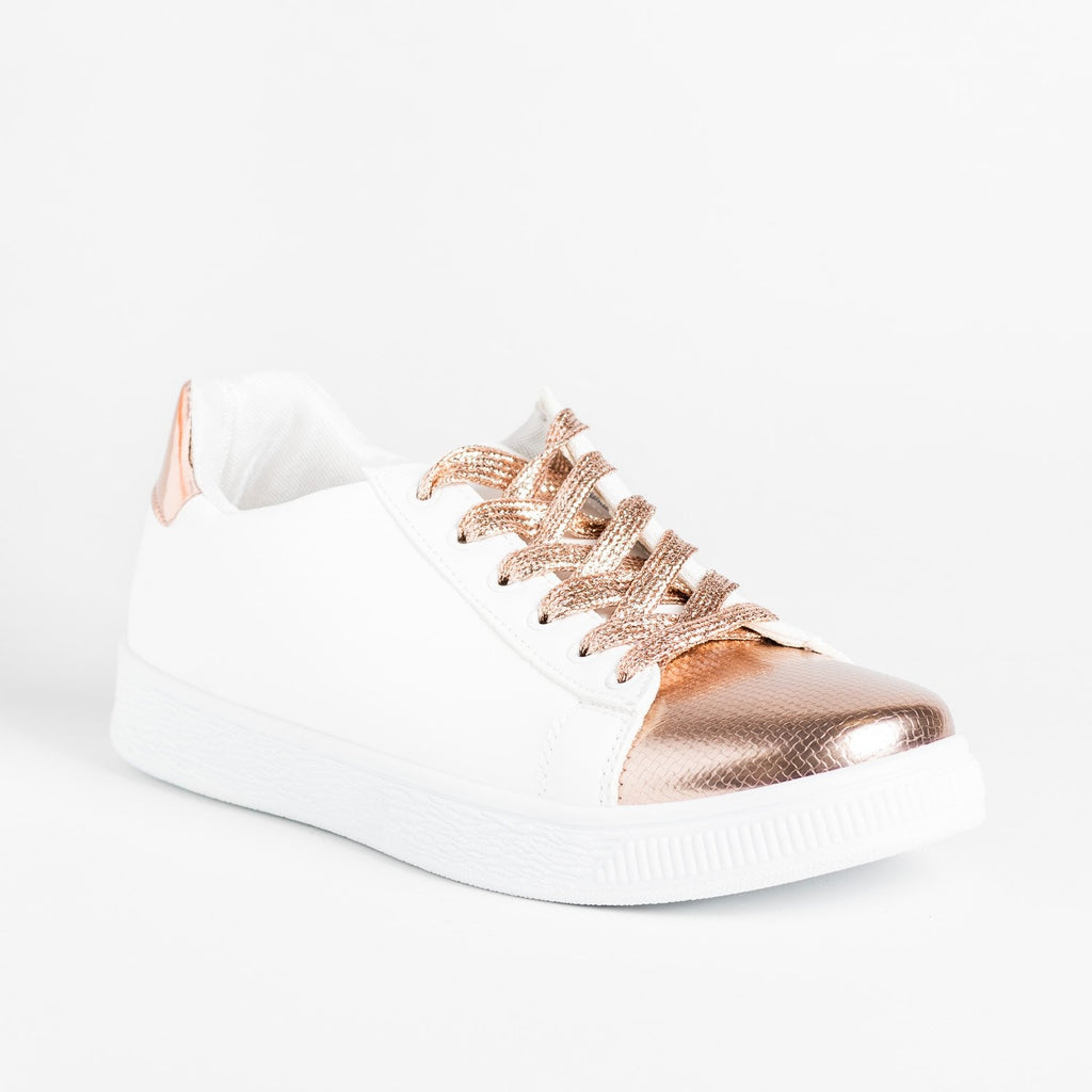 Womens Edgy Metallic Sneakers - Refresh - Rose Gold / 5