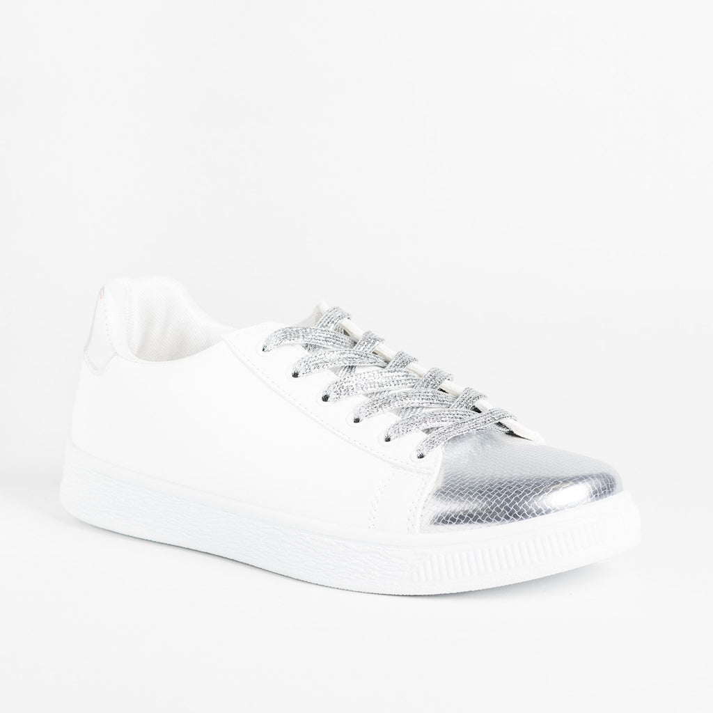 Womens Edgy Metallic Sneakers - Refresh - Silver / 5