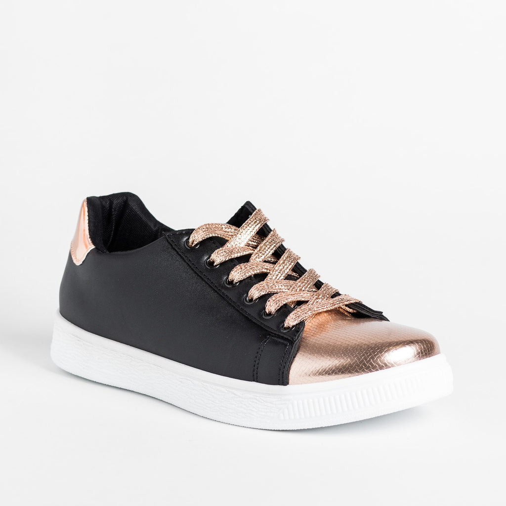 Womens Edgy Metallic Sneakers - Refresh - Black / 5