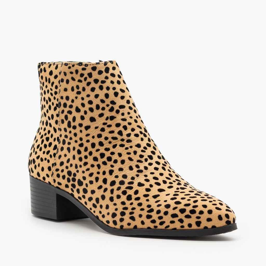 Womens Edgy Pointed Toe Fashion Booties - City Classified Shoes - Natural Cheetah / 5