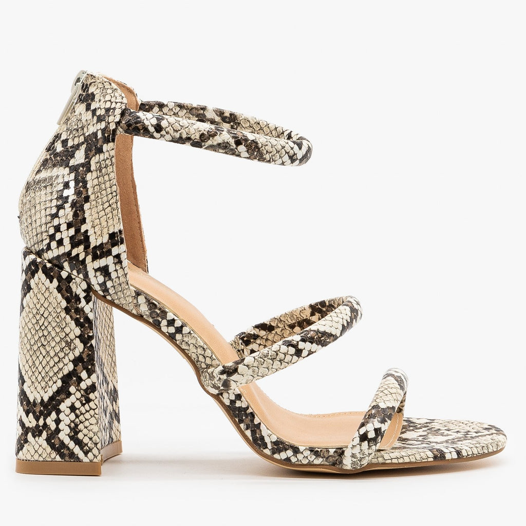 Womens Edgy Snake Print Night Out Heels - Novo Shoes - Snake / 5
