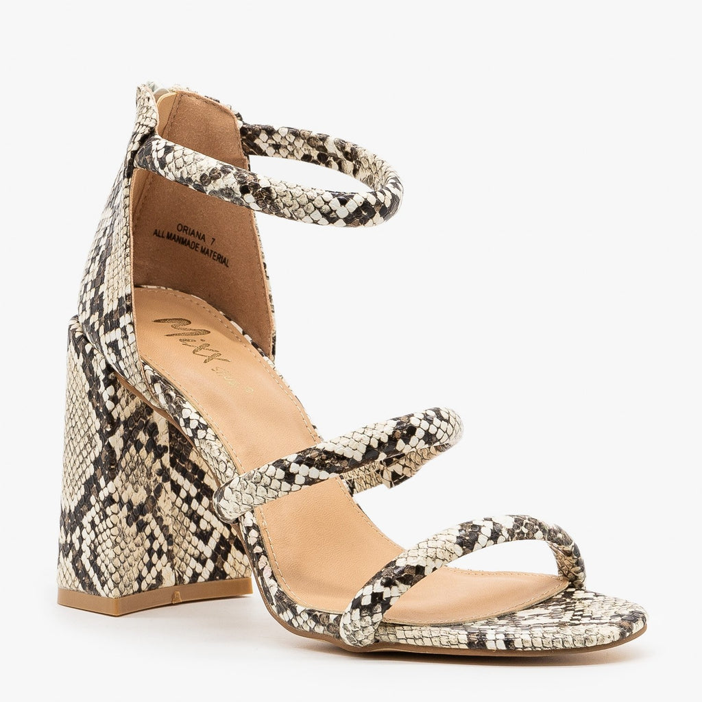 Womens Edgy Snake Print Night Out Heels - Novo Shoes