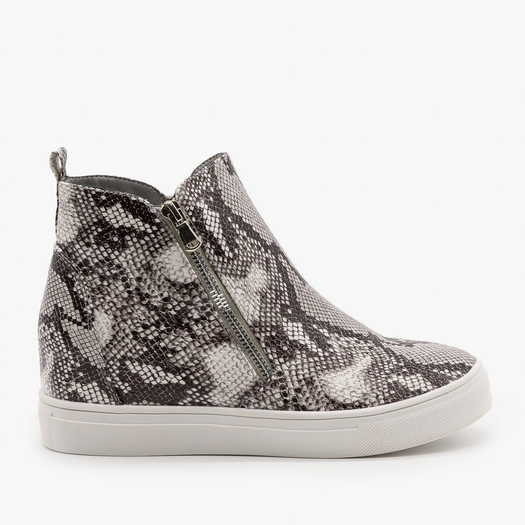 Womens Edgy Snakeskin Wedge Sneakers - Forever - Snake / 5