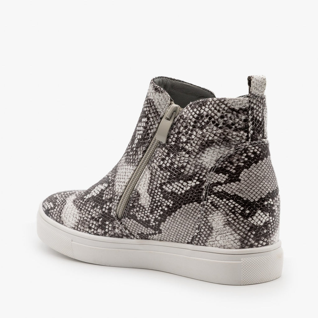 Womens Edgy Snakeskin Wedge Sneakers - Forever
