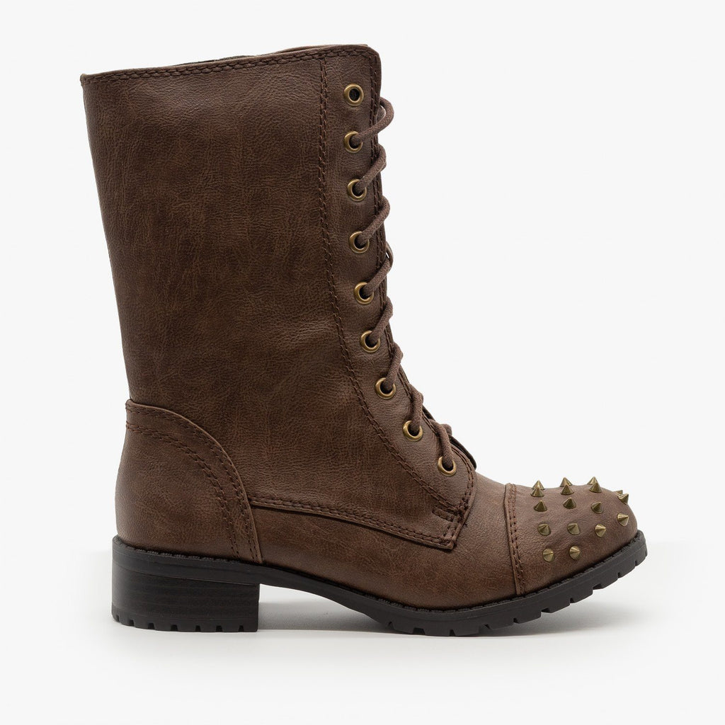 Womens Edgy Studded Combat Boots - Soda Shoes - Brown / 5