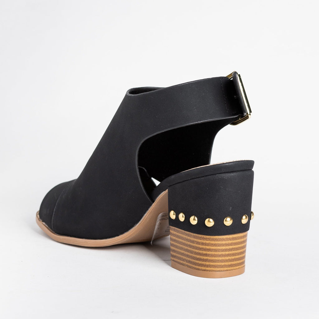 Womens Edgy Studded Heel Peep Toe Booties - Qupid Shoes