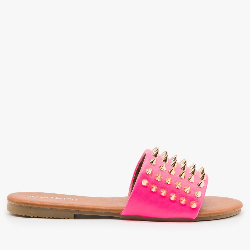 Women's Edgy Studded Slides - Anna Shoes