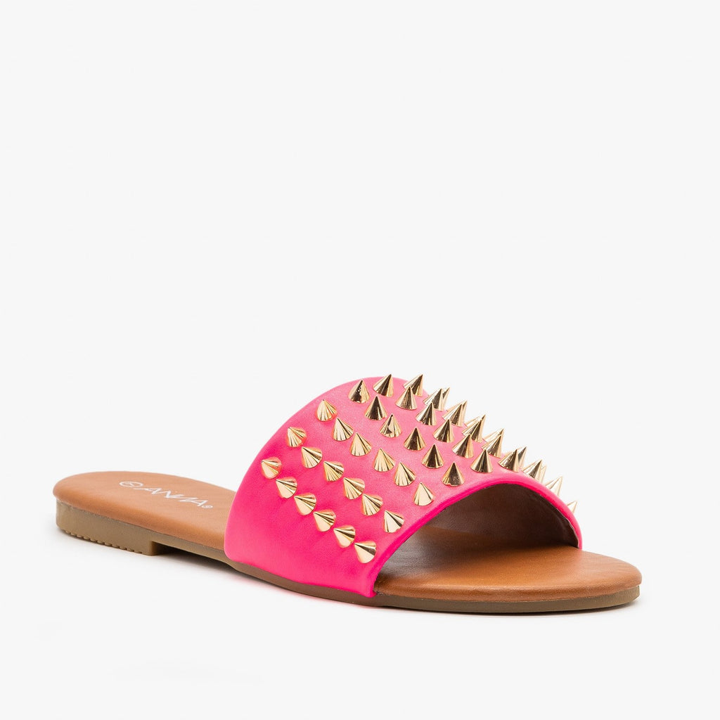 Womens Edgy Studded Slides - Anna Shoes - Neon Pink / 5