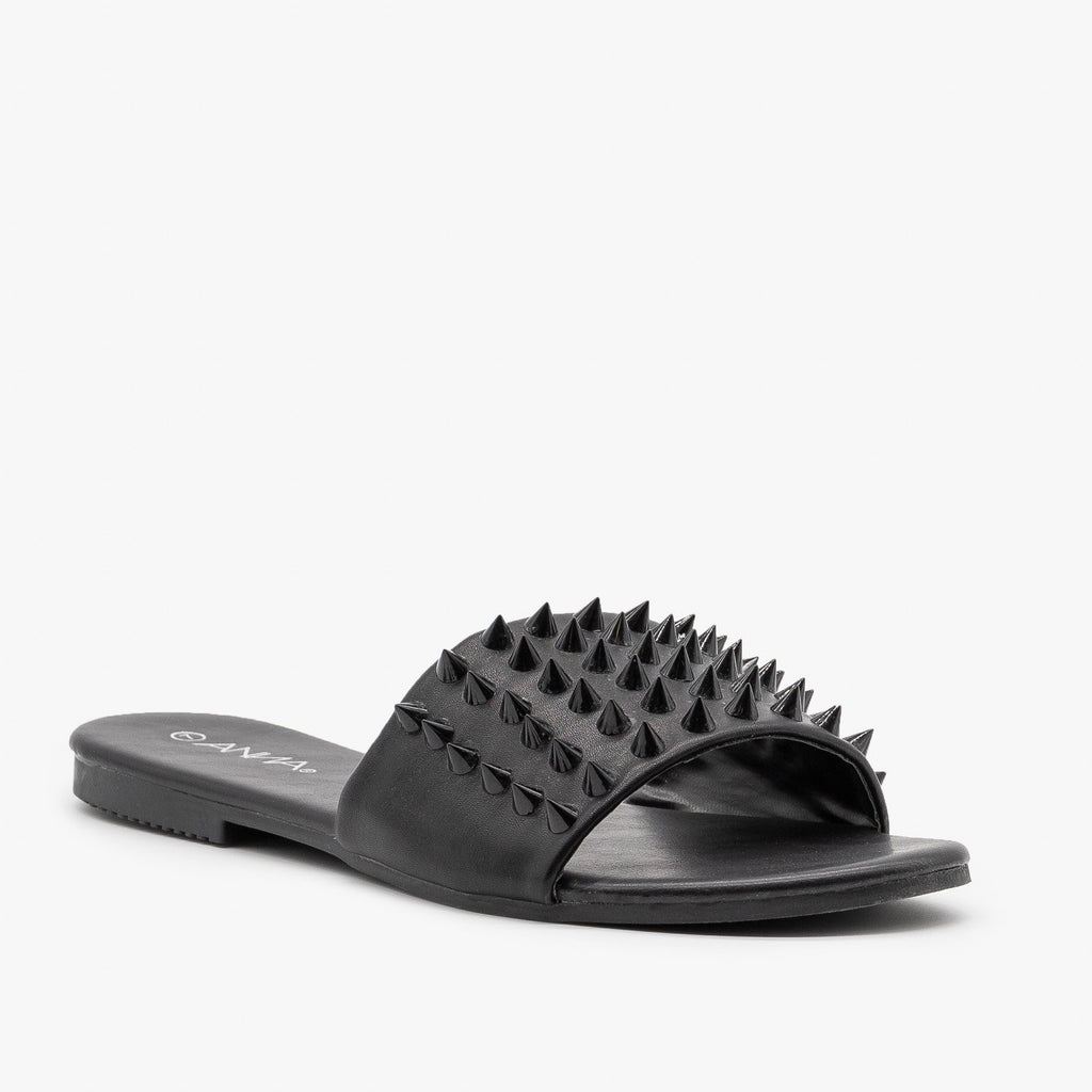 Womens Edgy Studded Slides - Anna Shoes - Black / 5