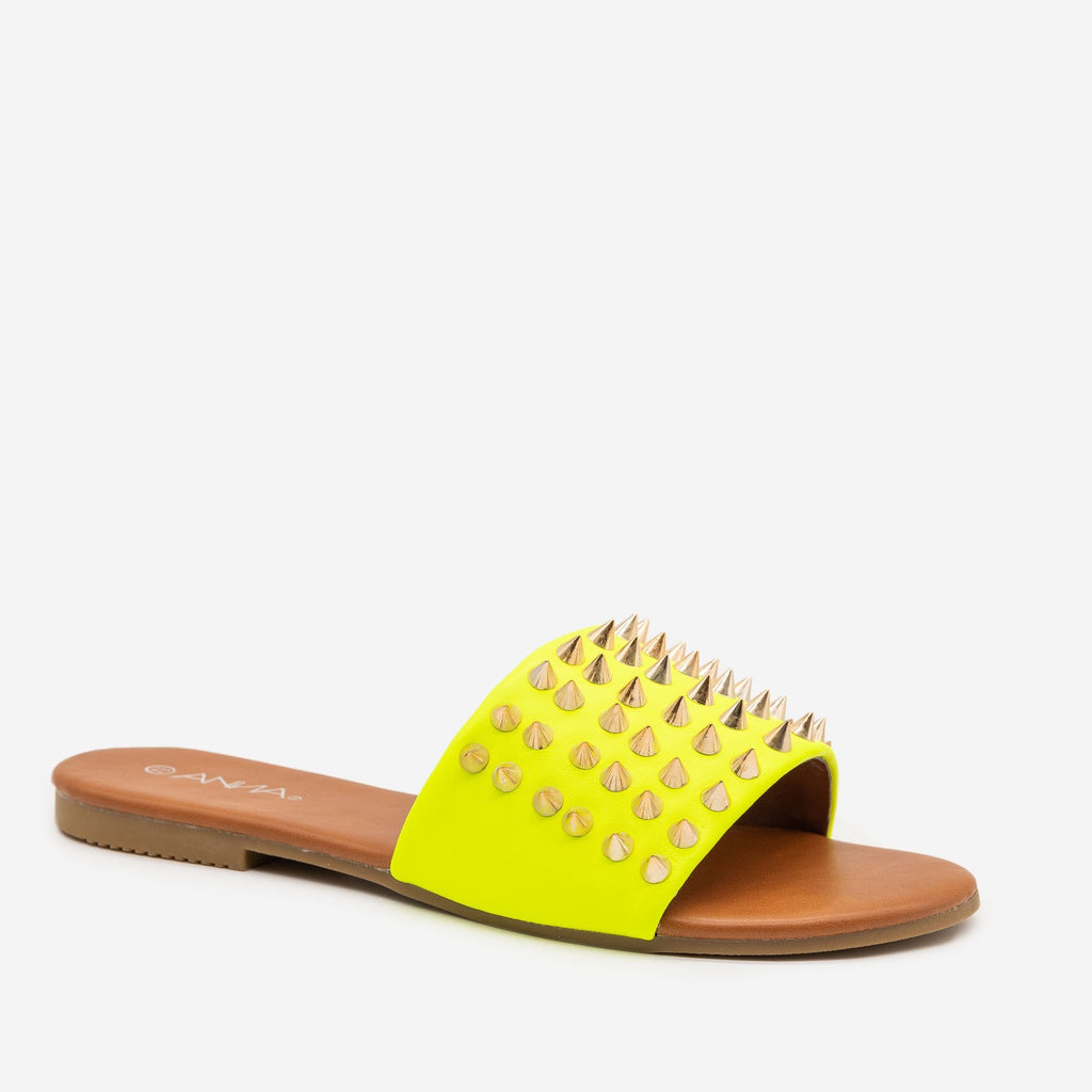 Women's Edgy Studded Slides - Anna Shoes - Neon Yellow / 5
