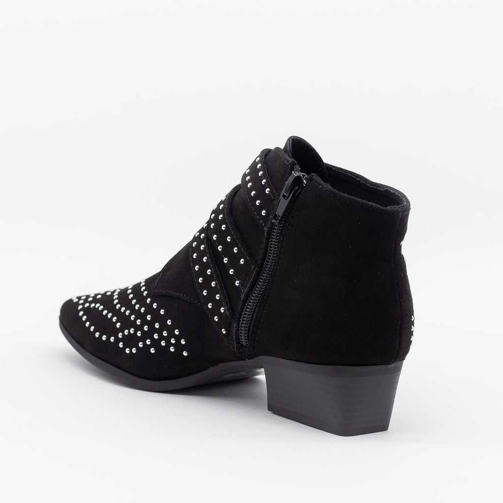 Womens Edgy Studded Triple Buckle Booties - Forever 21