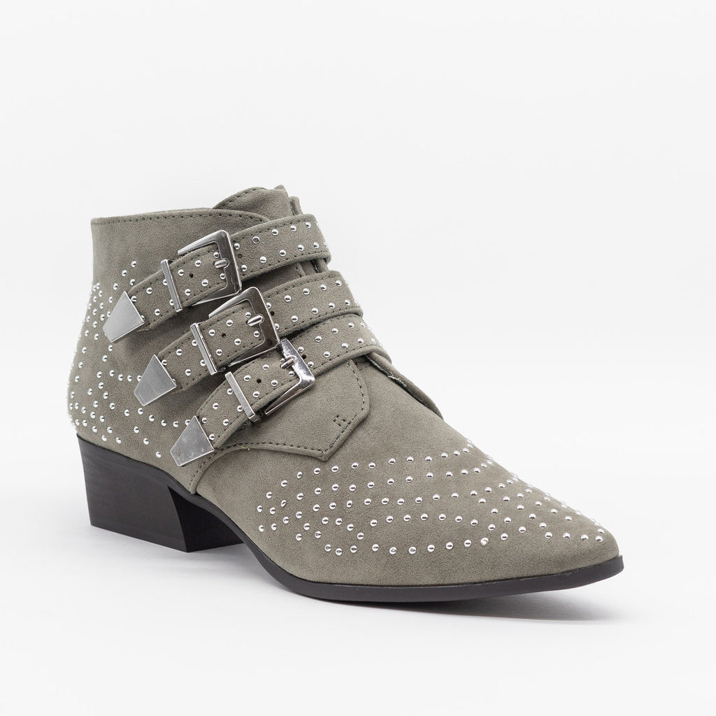 Womens Edgy Studded Triple Buckle Booties - Forever 21 - Khaki / 5