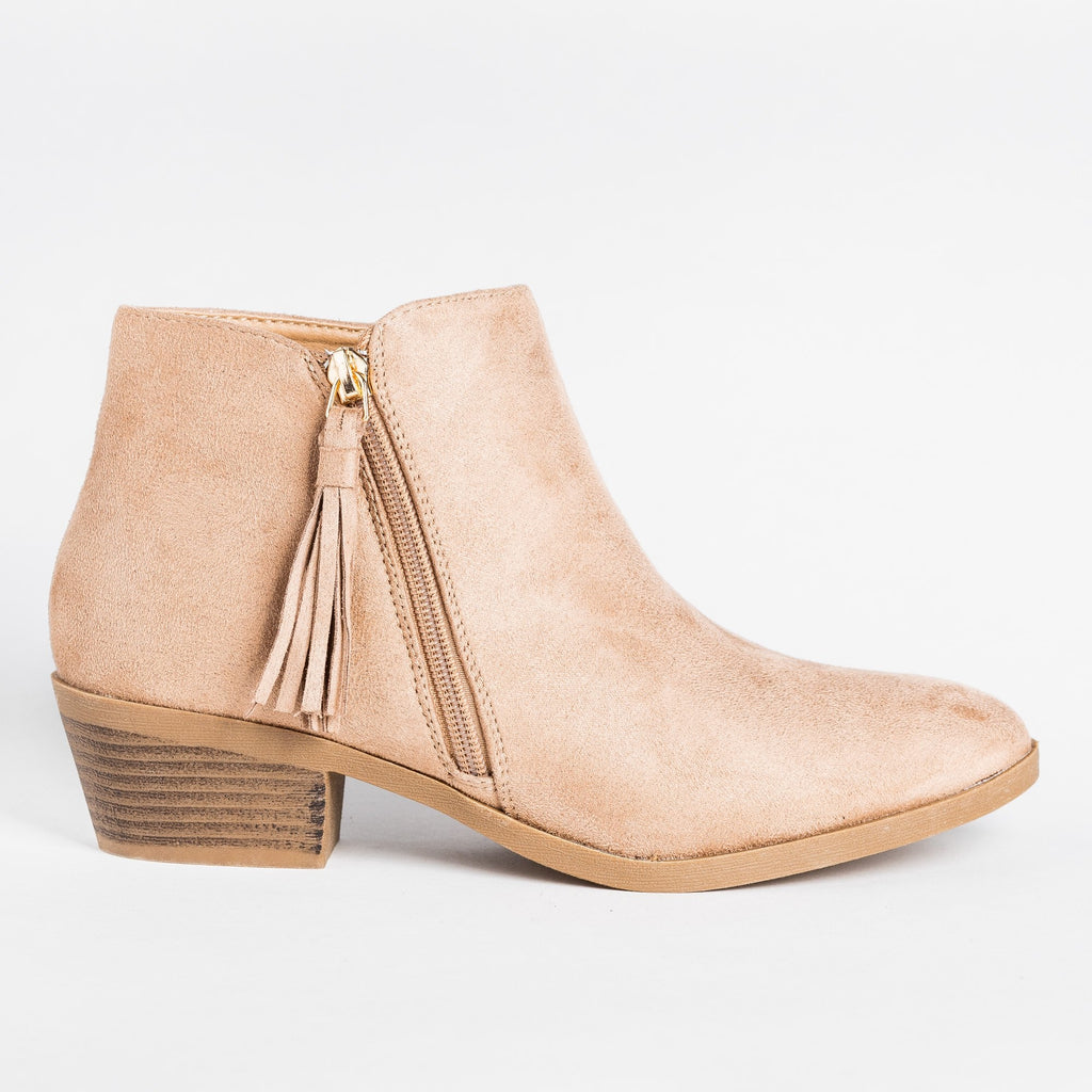 Womens Edgy Tasseled Zipper Booties - Bonnibel - Taupe / 5