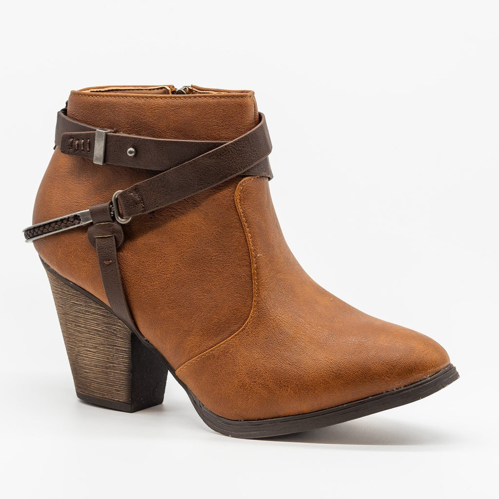 Womens Edgy Wraparound Belt Booties - Dollhouse Shoes - Chestnut / 5