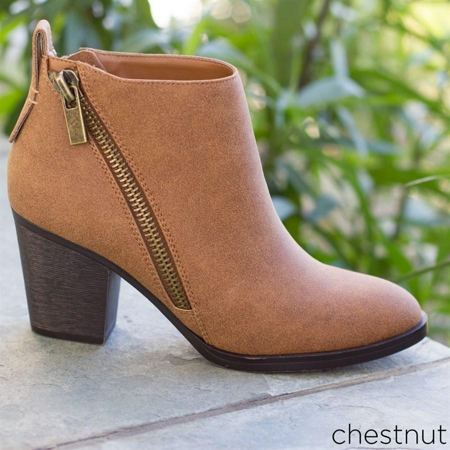 Womens Edgy Zipper Accented Booties - Bamboo Shoes - Chestnut / 5
