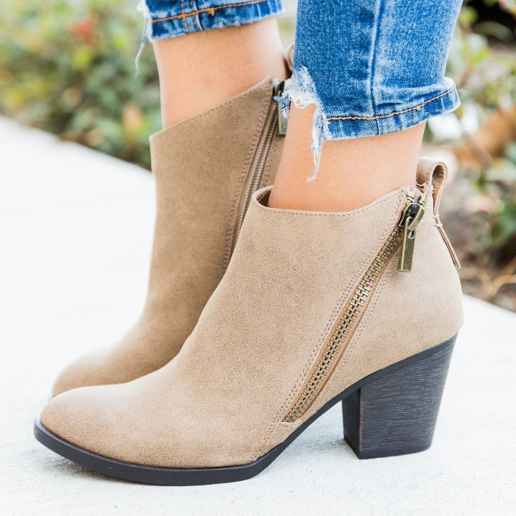 Womens Edgy Zipper Accented Booties - Bamboo Shoes - Taupe / 5