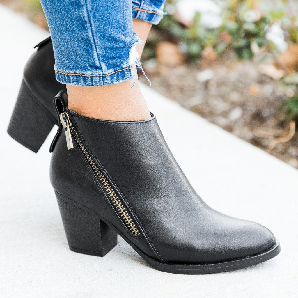 Womens Edgy Zipper Accented Booties - Bamboo Shoes