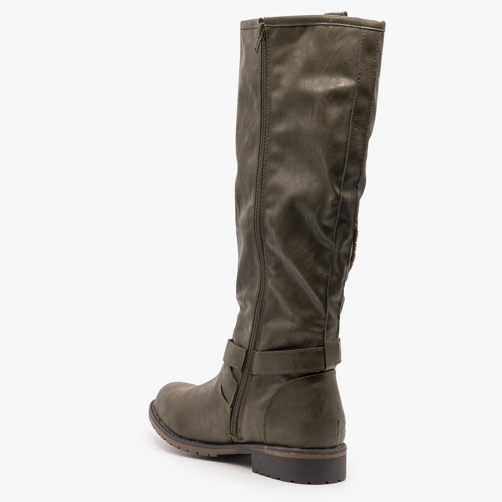 Womens Edgy Zipper Belted Riding Boots - Mark & Maddux