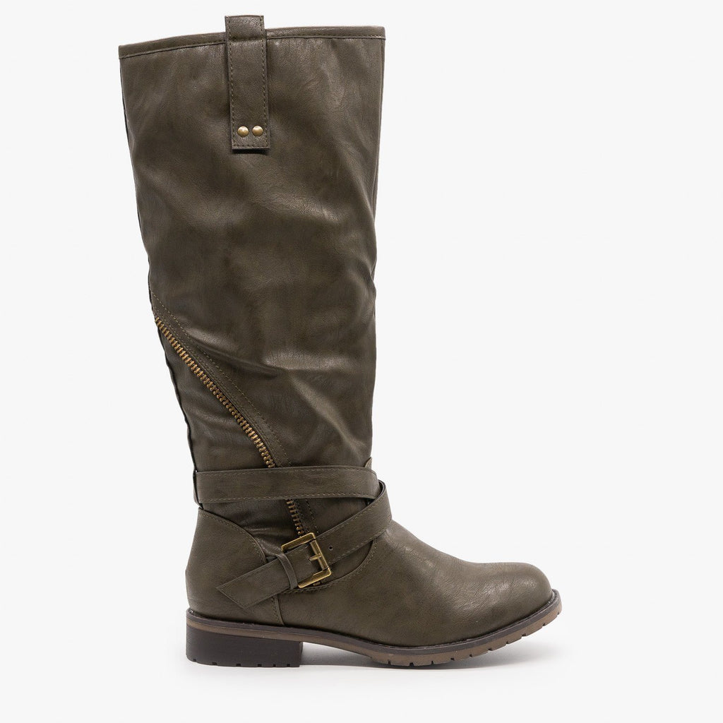 Womens Edgy Zipper Belted Riding Boots - Mark & Maddux - Olive / 5