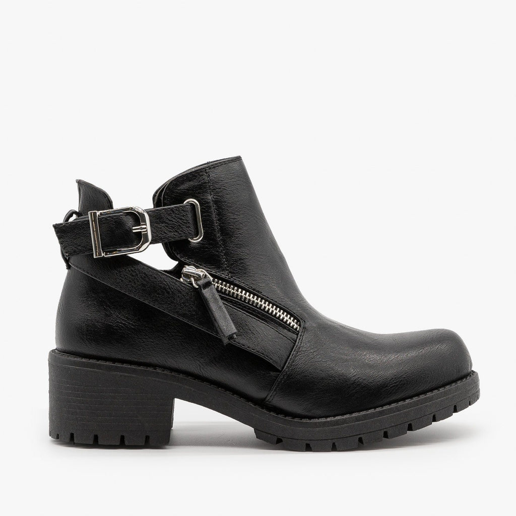 Womens Edgy Zipper Buckled Booties - Qupid Shoes - Black / 5